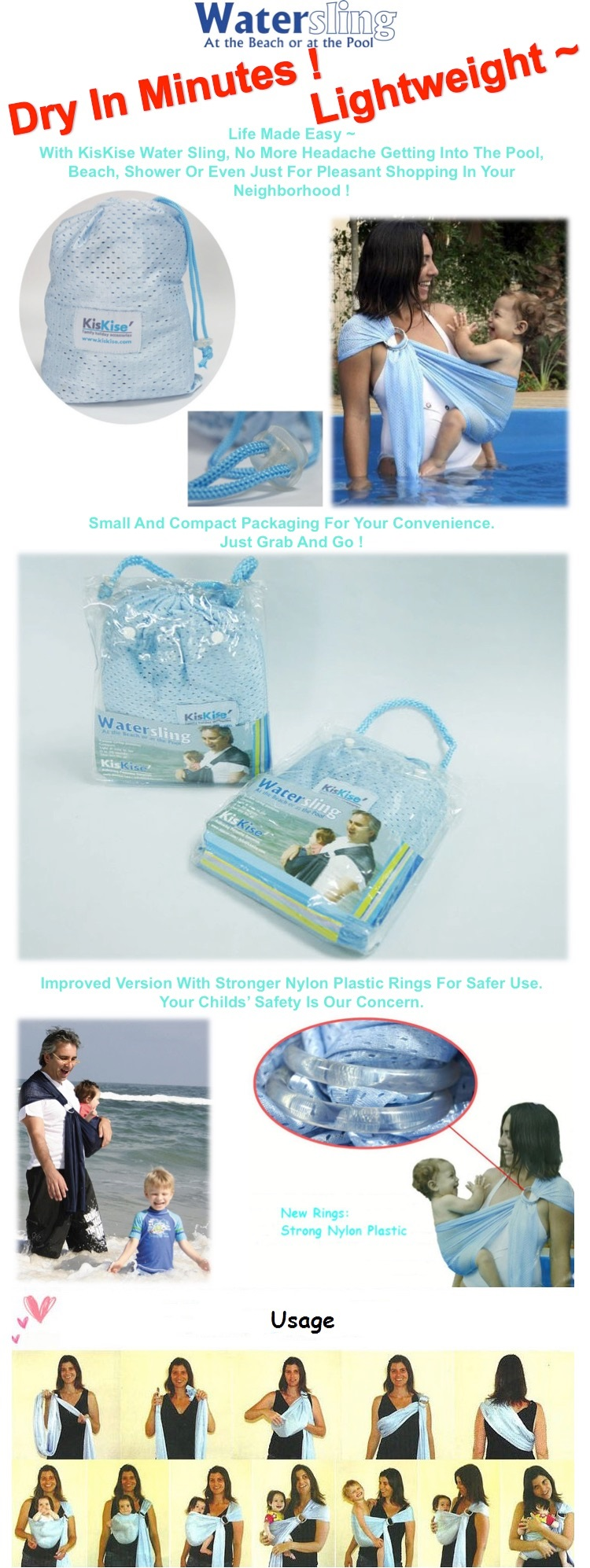 00e482ac74e Comfortable Water Sling Carrier that Dry SUPER Fast.     READY STOCK IN  SINGAPORE