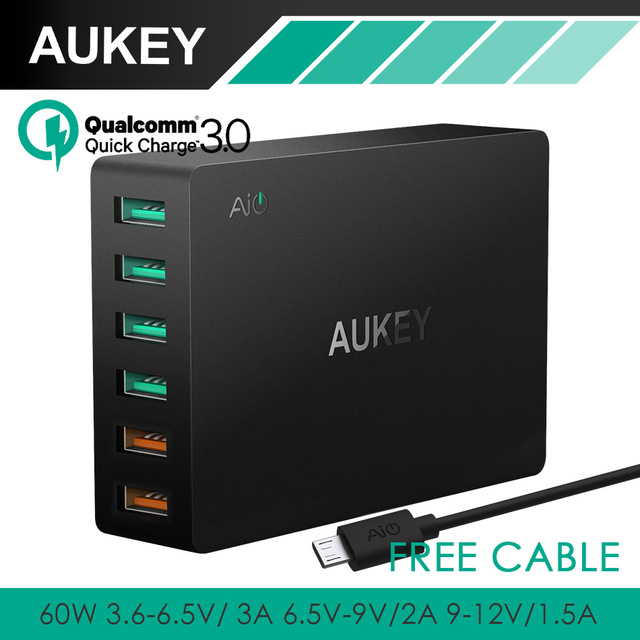 AUKEY Quick Charge Multi Port USB Charger with Dual Quick Charge 2.0/3.0 Desktop Mobile Charger Wall Charging EU US Plug for iPhone Samsung S6 SONY HTC etc ...