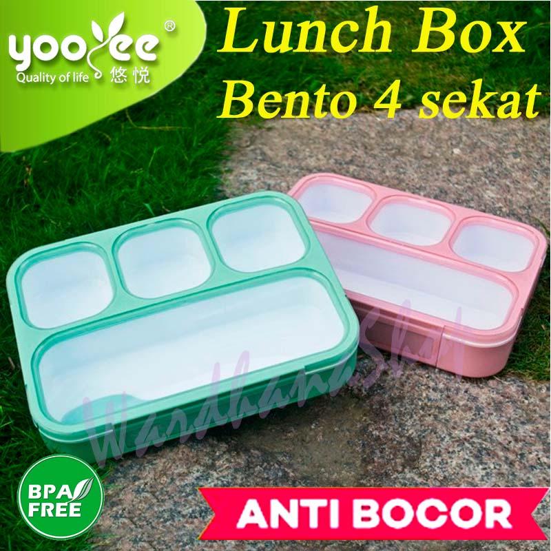 YooYee Grid Bento Lunch Box 4 Sekat Anti Bocor !#!amp!*!