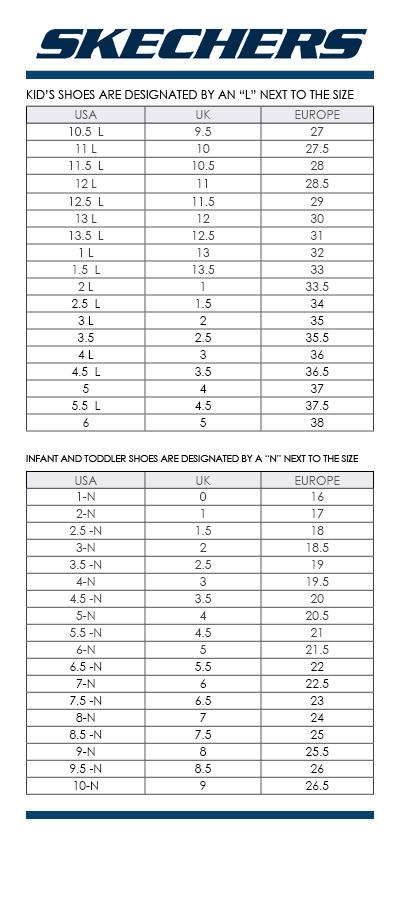 skechers sandals size chart
