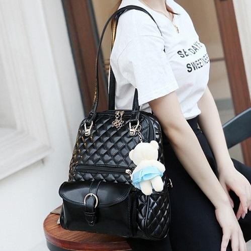 b701c2758b5 Buy Korean Men Women Trending Rivet Leather Travel School Backpacks ...