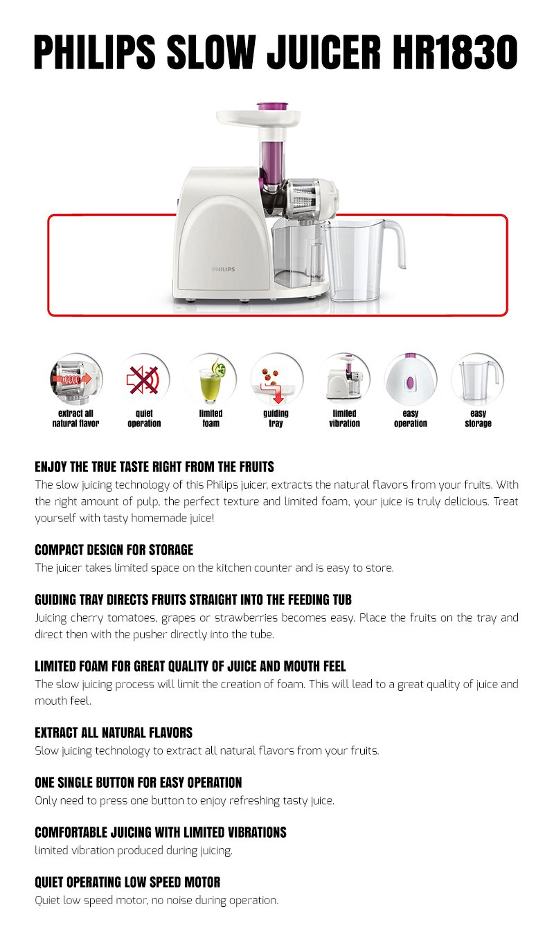 Philips Slow Juicer Hr1830 Review : Philips HR1830 Slow Juicer (White) Lazada PH