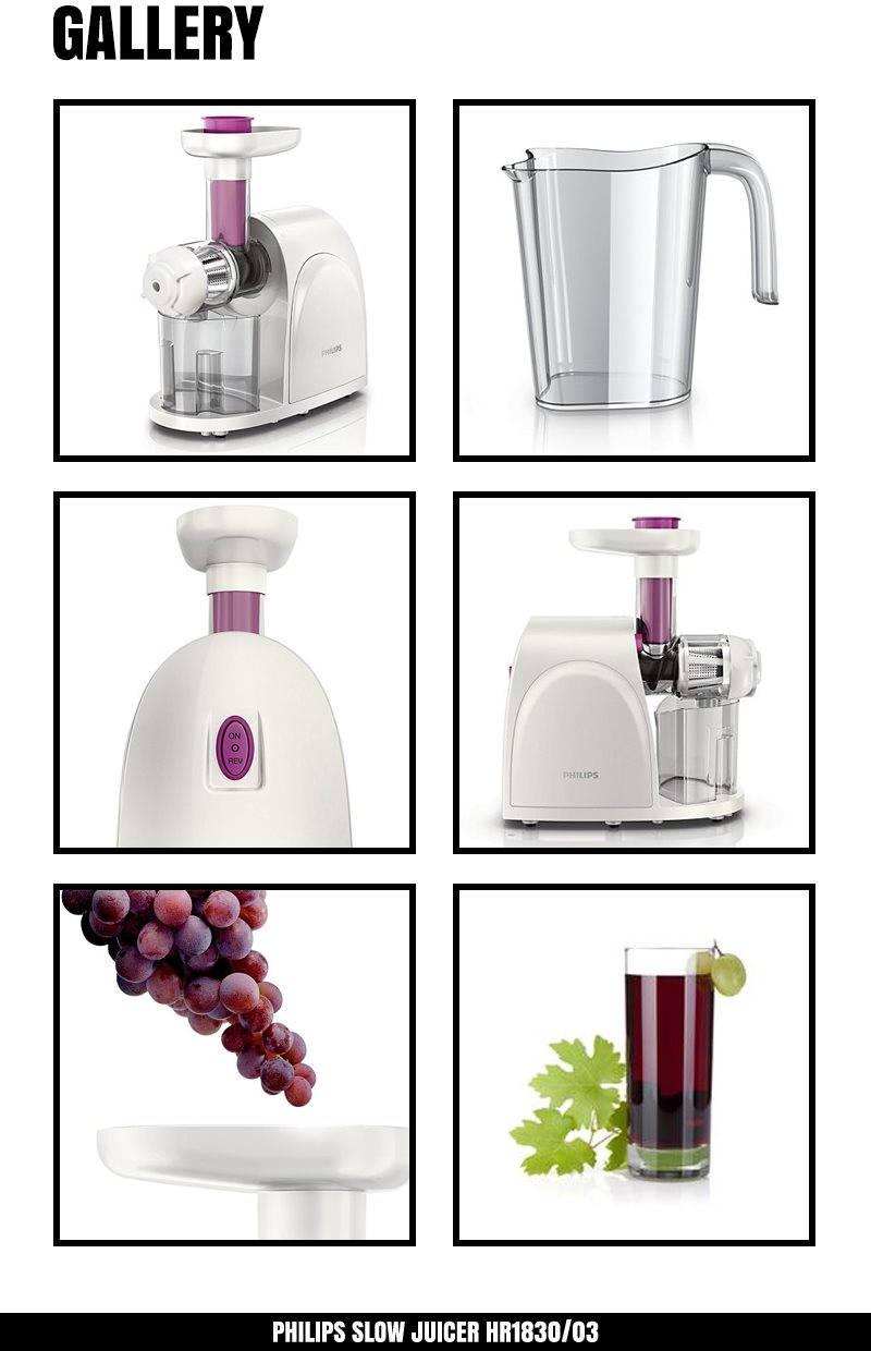 Philips HR1830 Premium Slow Juicer Smoothie Maker Fresh Fruit Juice Natural Flavour Extract ...