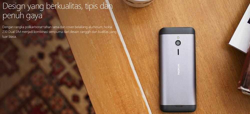 Nokia 230 Dual SIM memiliki layar 2,8 inci QVGA (240 x 320 piksel