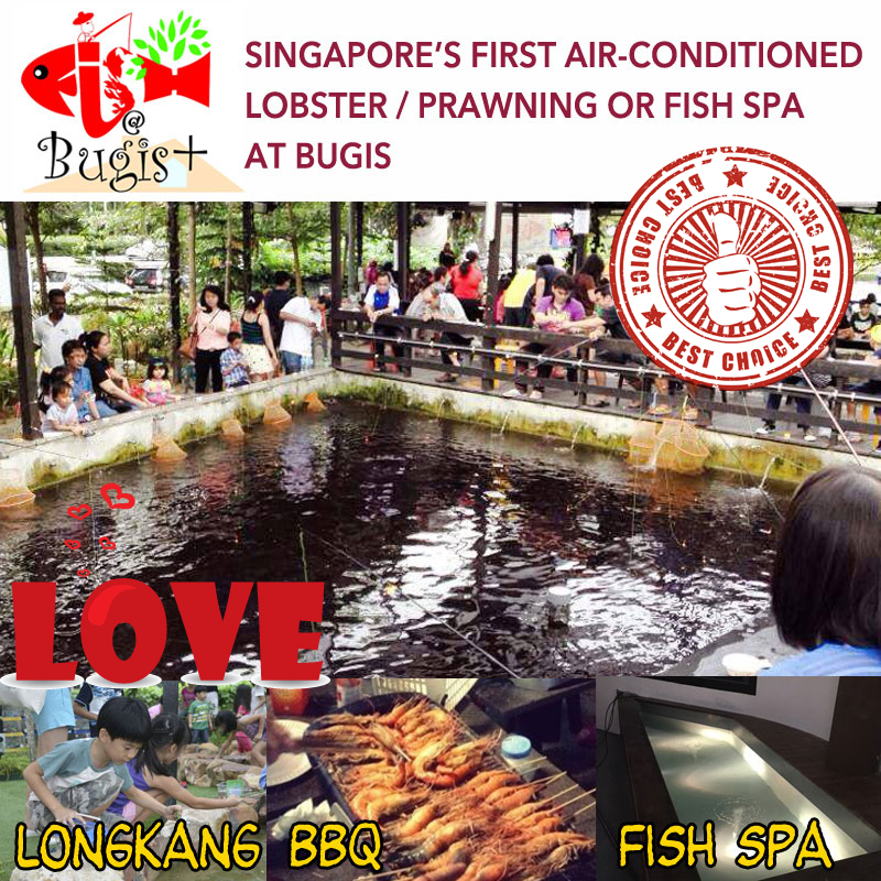 Buy Singapores First Air-conditioned Lobster / Prawning or Children  LongKang Fishing or Fish Spa at Bugis+ (2 location available Bugis+ and Big