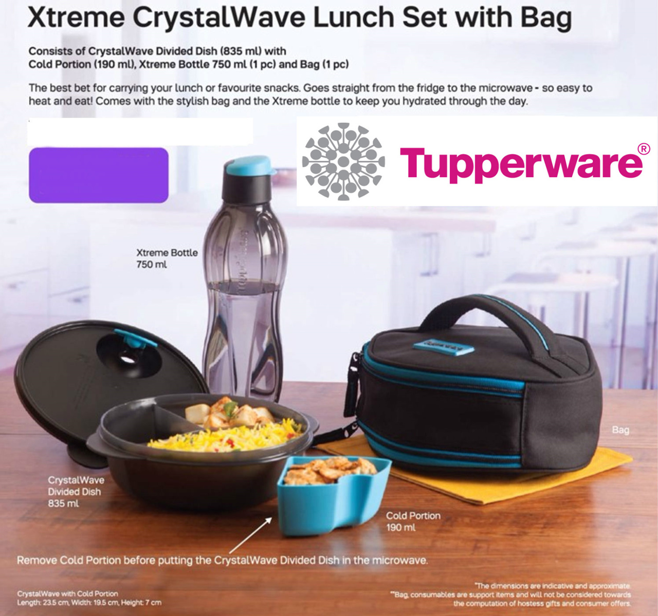 Sectioned Tupperware: Tupperware Lunch Box Snack Container With Aquasafe Eco