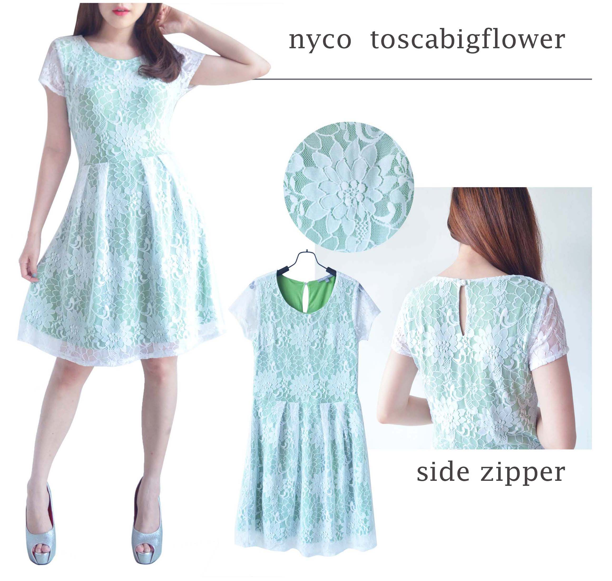 nyco lace dress bahan stretch lace cotton elastene tebal and halus side zipper back zipper Premium quality elastene 10cm