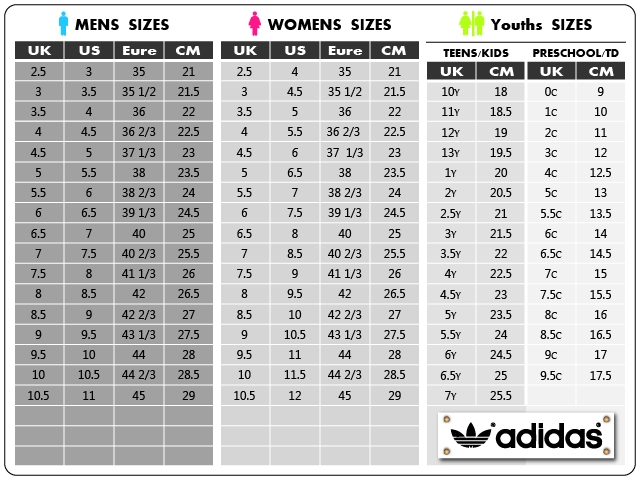 Image result for adidas shoes women's size guide
