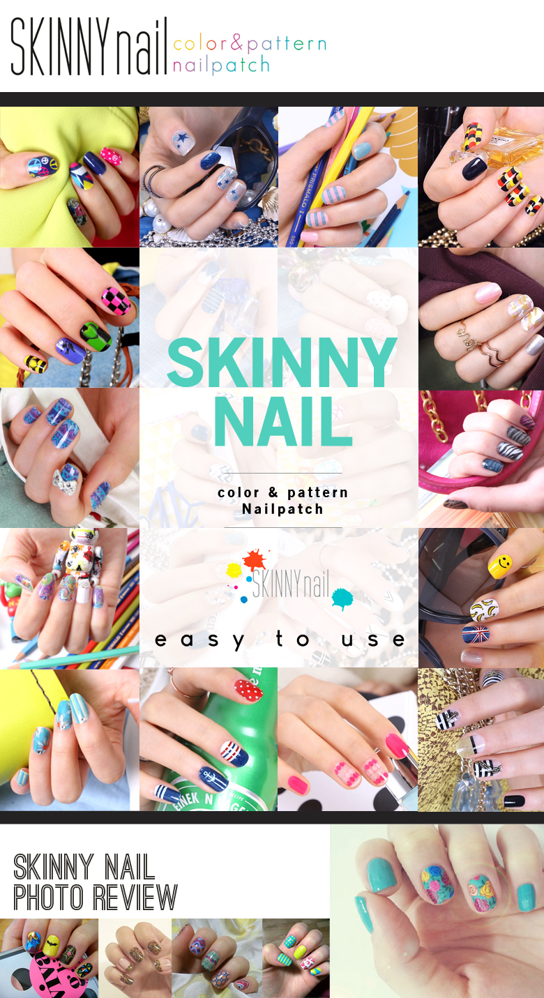 Korean Nail Art☆ [Skinny Nail] Nail Art Tool Beautiful Strips Patch ...