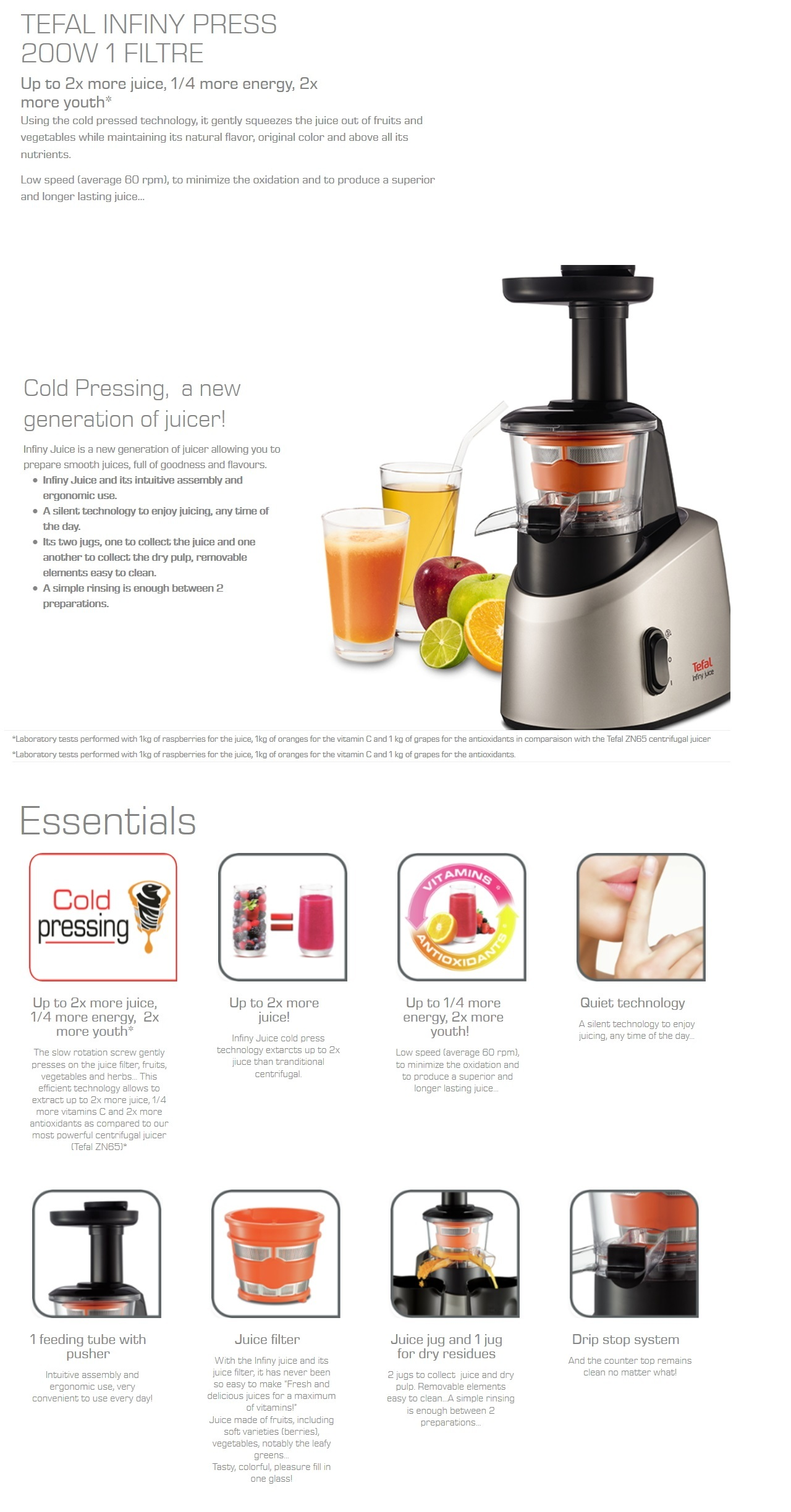 Tefal Infiny Slow Juicer Review : Tefal ZC255B Infiny Slow Juicer Lazada Singapore