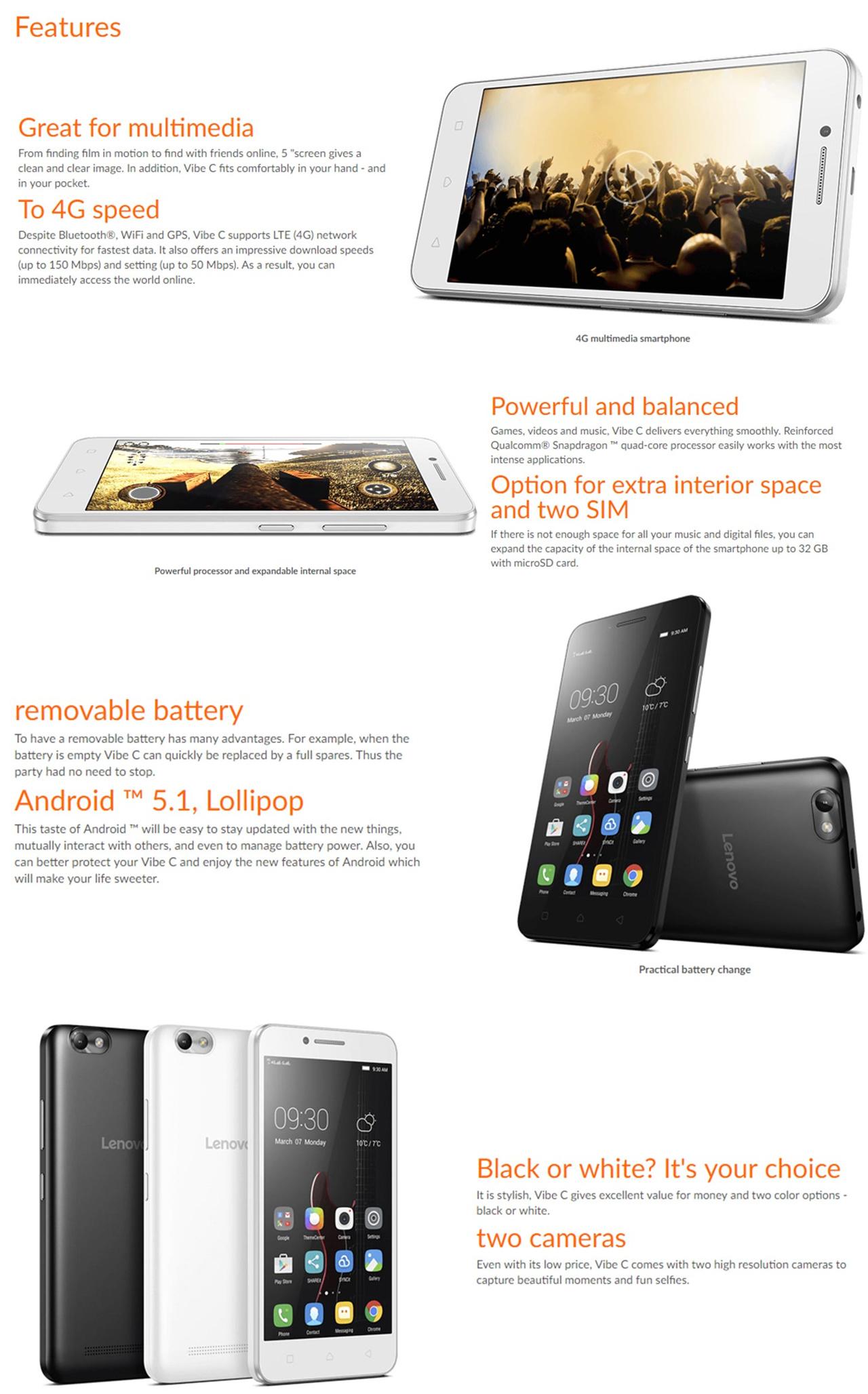 Buy Lenovo Vibe C A2020 1 Year Local Warranty Free Gift Back Cover White Processorqualcomm Snapdragon 210 Display50 Hd Ram1gb Rom 16gb Simdual Sim Rear 5mp Front 2mp