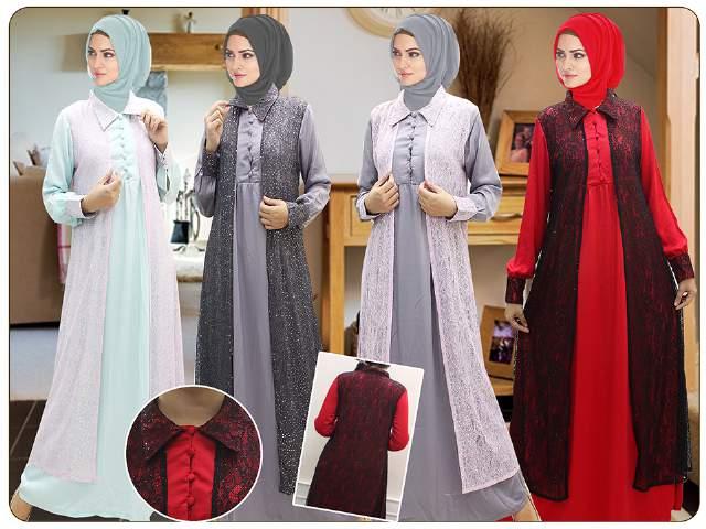 Gamis Cardigan Panjang Gambar Islami