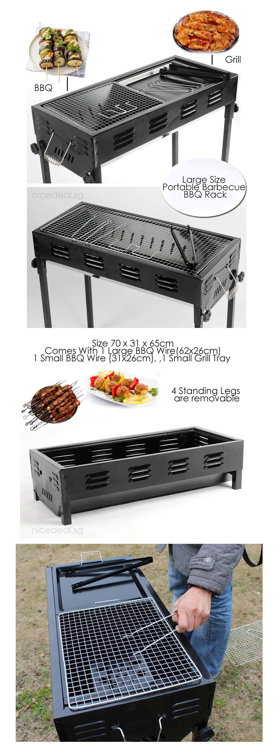 buy portable bbq grill rack large size portable barbecue. Black Bedroom Furniture Sets. Home Design Ideas