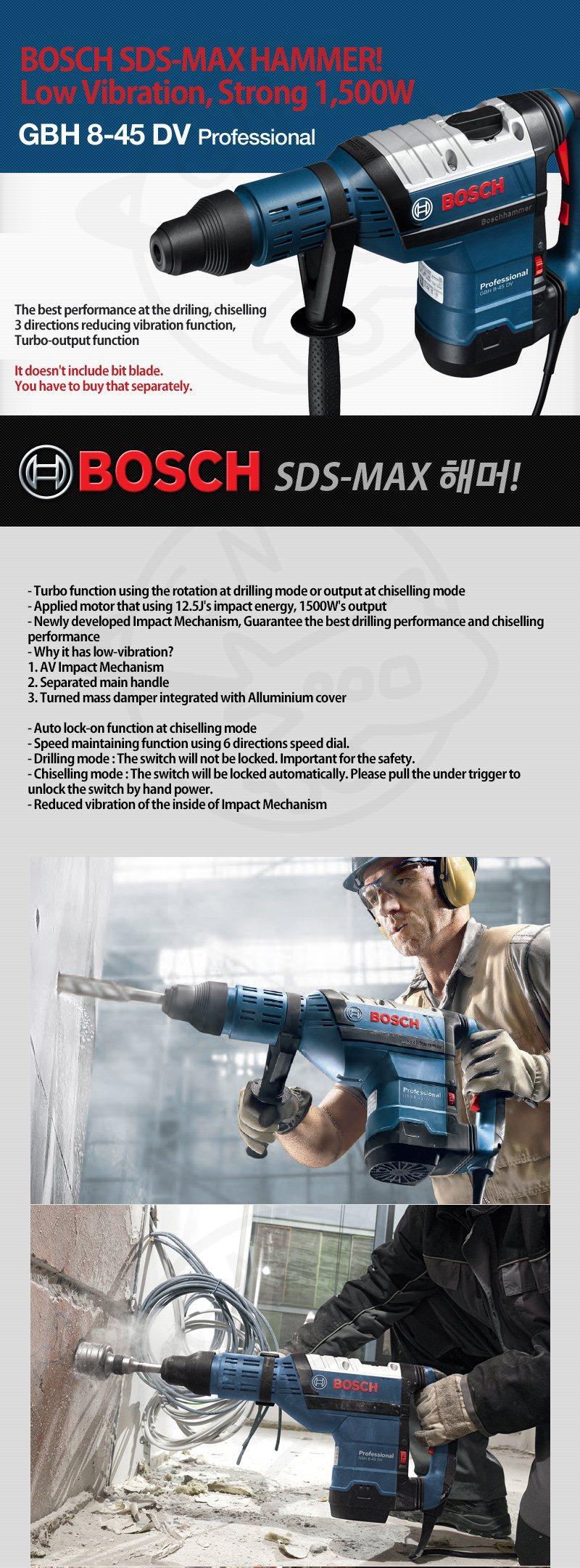 Bosch GBH 8-45 DV Professional SDS MAX Hammer Low Vibration