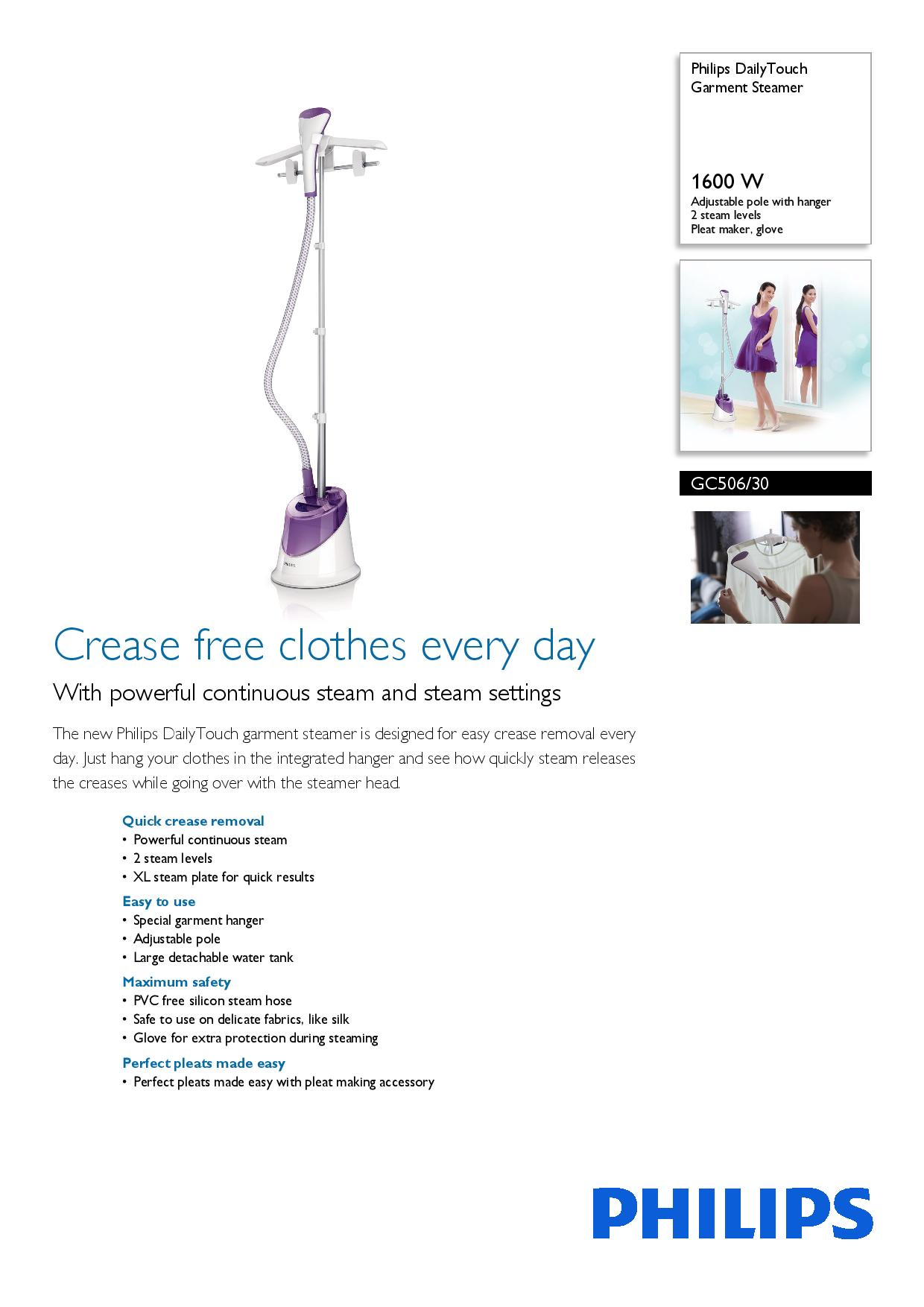 Every Need Want Day Philips Garment Steamer Gc504 Dailytouch Gc506 1600w Adjustable Pole With Hanger 2 Steam Levels Pleat Maker Glove
