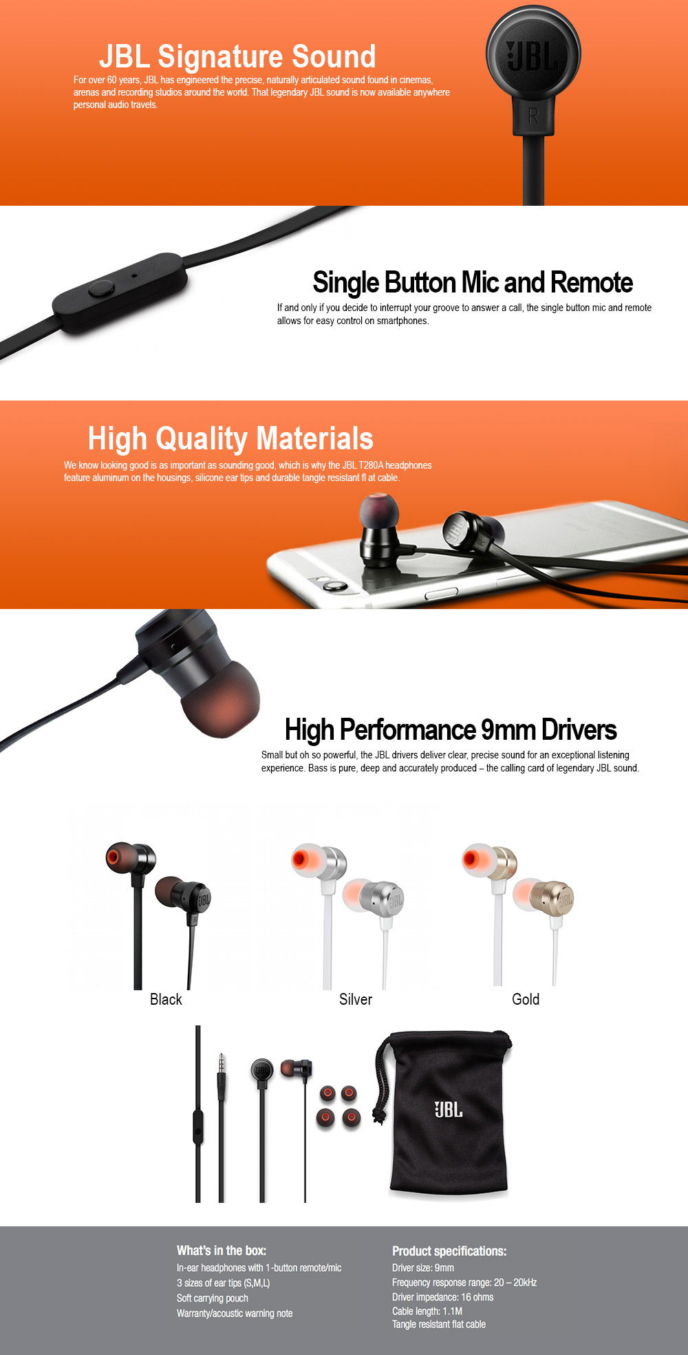 1146fba9531 JBL T280A Stereo In-Ear Headphones With Flat Cable In-Line 1-Button Remote  And headphones with high-performance speakers Gewirrfreiem ribbon cable