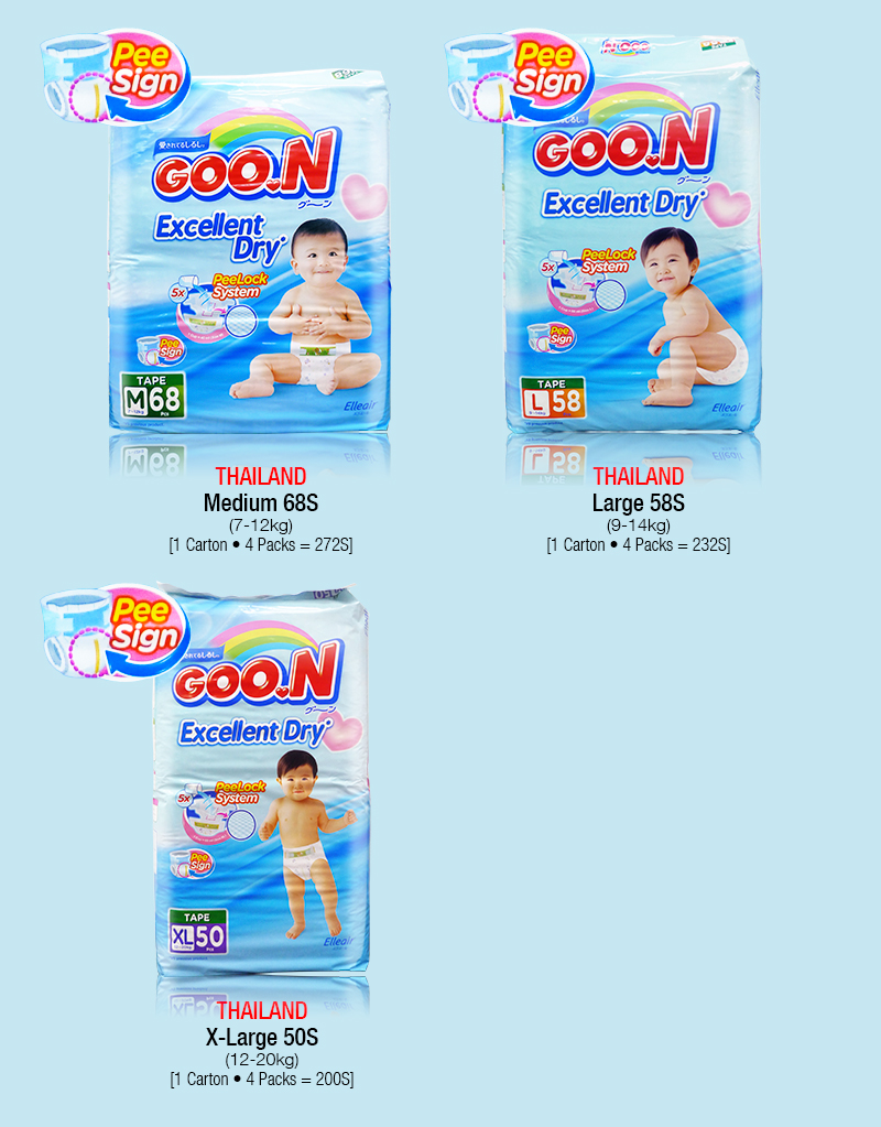 Every Need Want Day Goon Excellent Dry Nb 48 N Tape Diapers Pants Unisex Boys Girls S M L Xl Xxl Asia Version Indo Thai