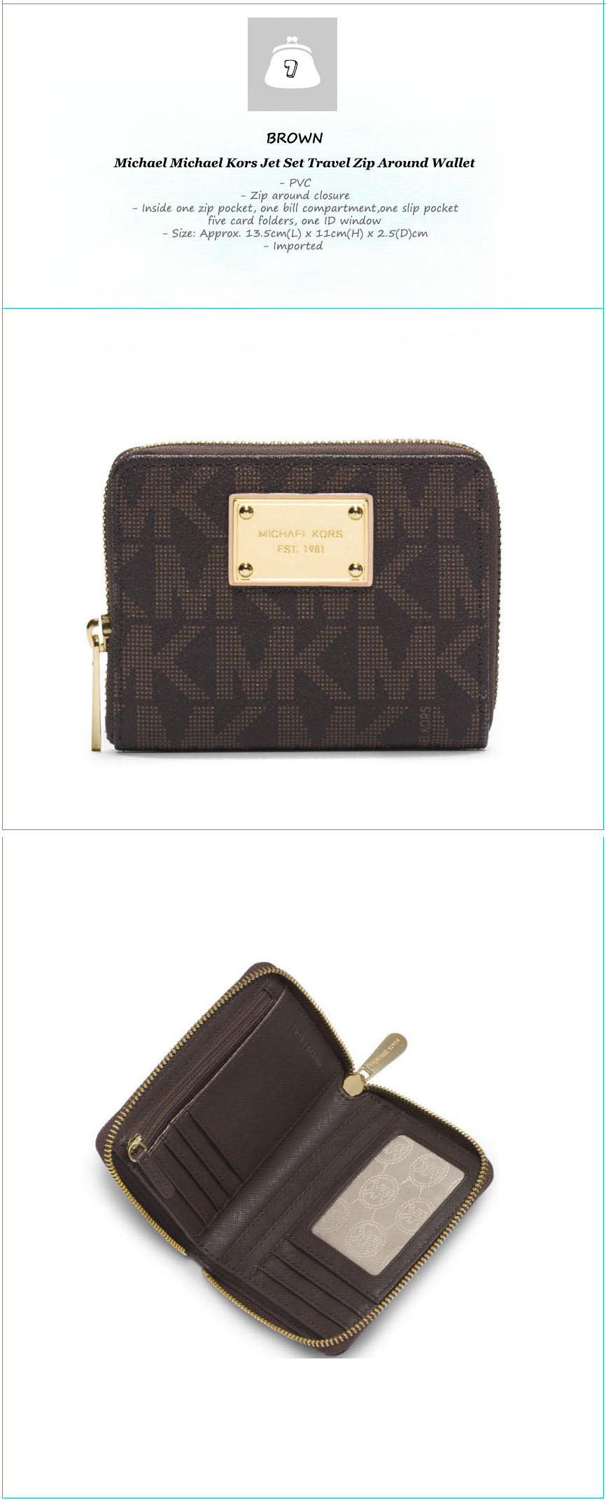 Michael Kors Fulton Jet Set Medium Wallet Official Genuine