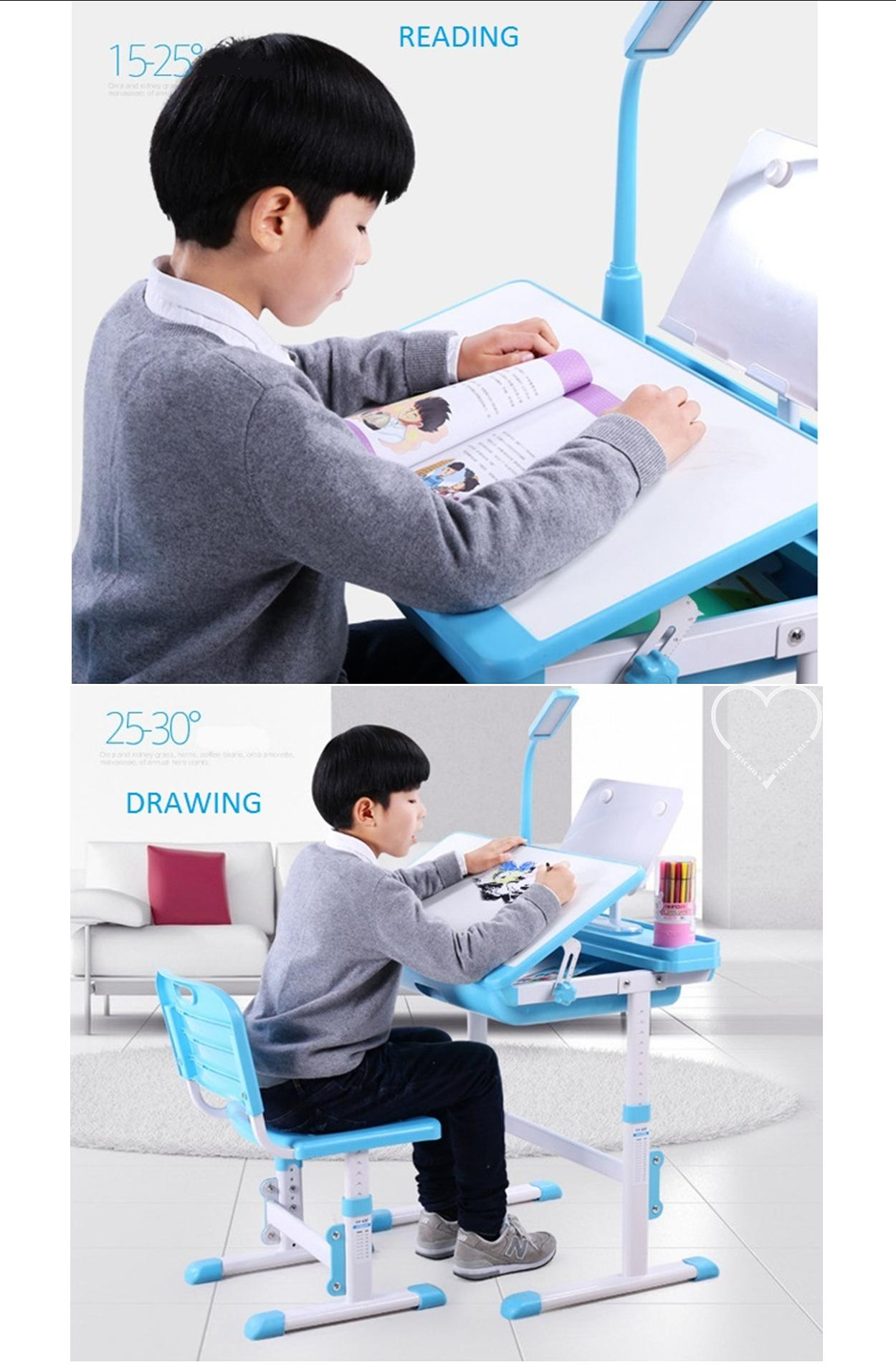 A80t children ergonomics study table set with led lamp for Study table for 2 kids