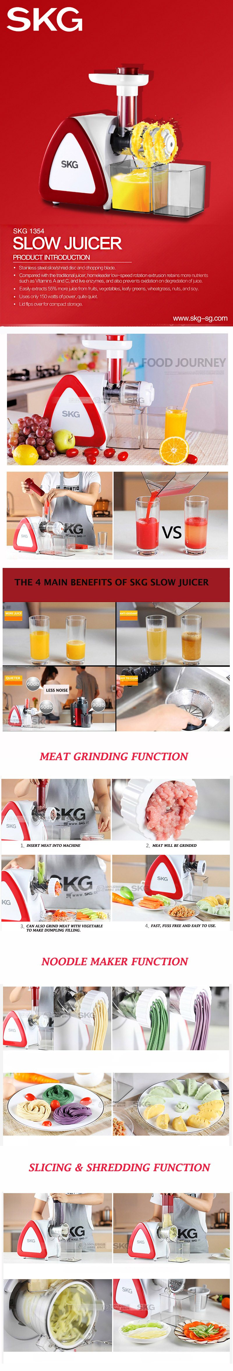 SKG 1354 Slow Juicer 7 IN 1 Multi Function Deals for only S$88.9 instead of S$199