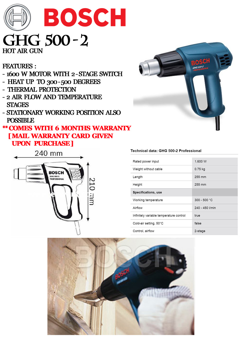 Every Need Want Day Bosch Hot Air Gun Ghg 500 2 That Has A 1600 W Motor And Heat Up From 300 Deg Comes In Stages