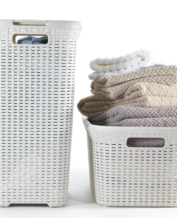 Buy curver rattan style hamper dark brown white storage laundry basket washable long lasting - Whites and darks laundry basket ...