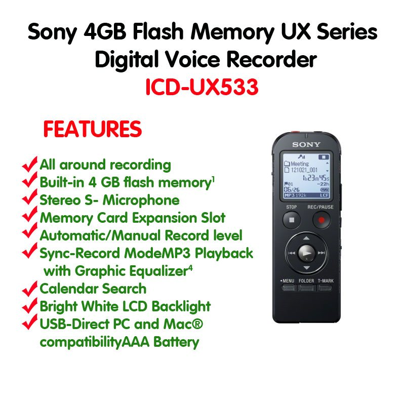 Sony ICD-UX533 Digital Voice Recorder UX Series ( Export ...