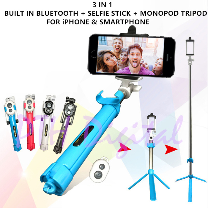 buy 3 in 1 bluetooth selfie stick monopod for shutter camera tripod extendable auto for smart. Black Bedroom Furniture Sets. Home Design Ideas