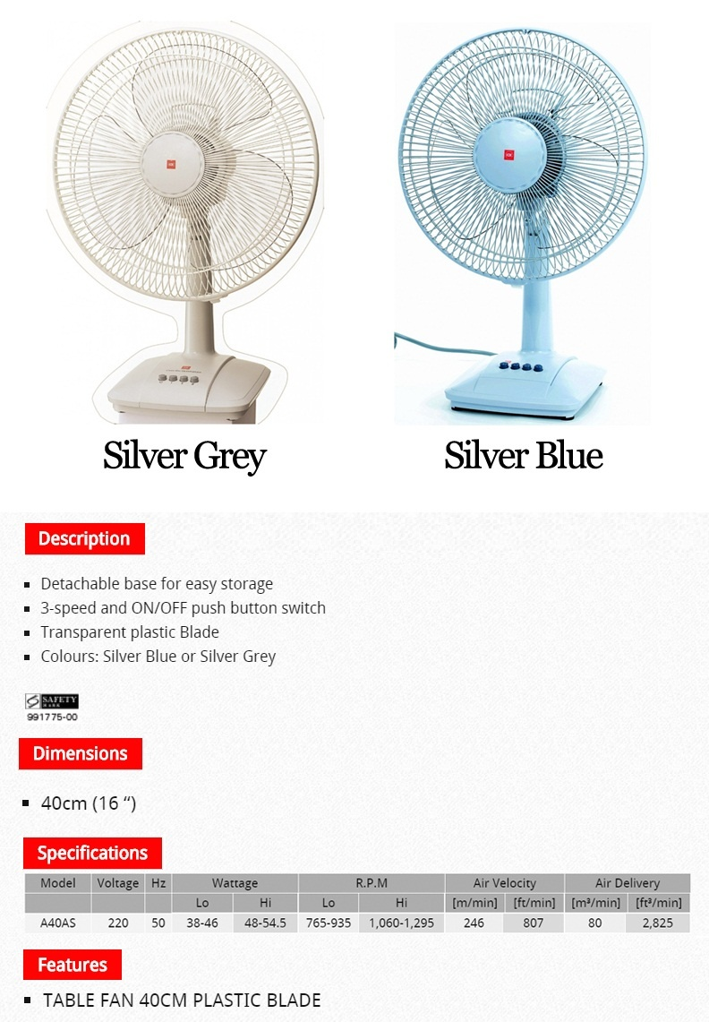Every Need Want Day Table Fan Diagram All Picture Kdk A40as 40cm Local Warranty