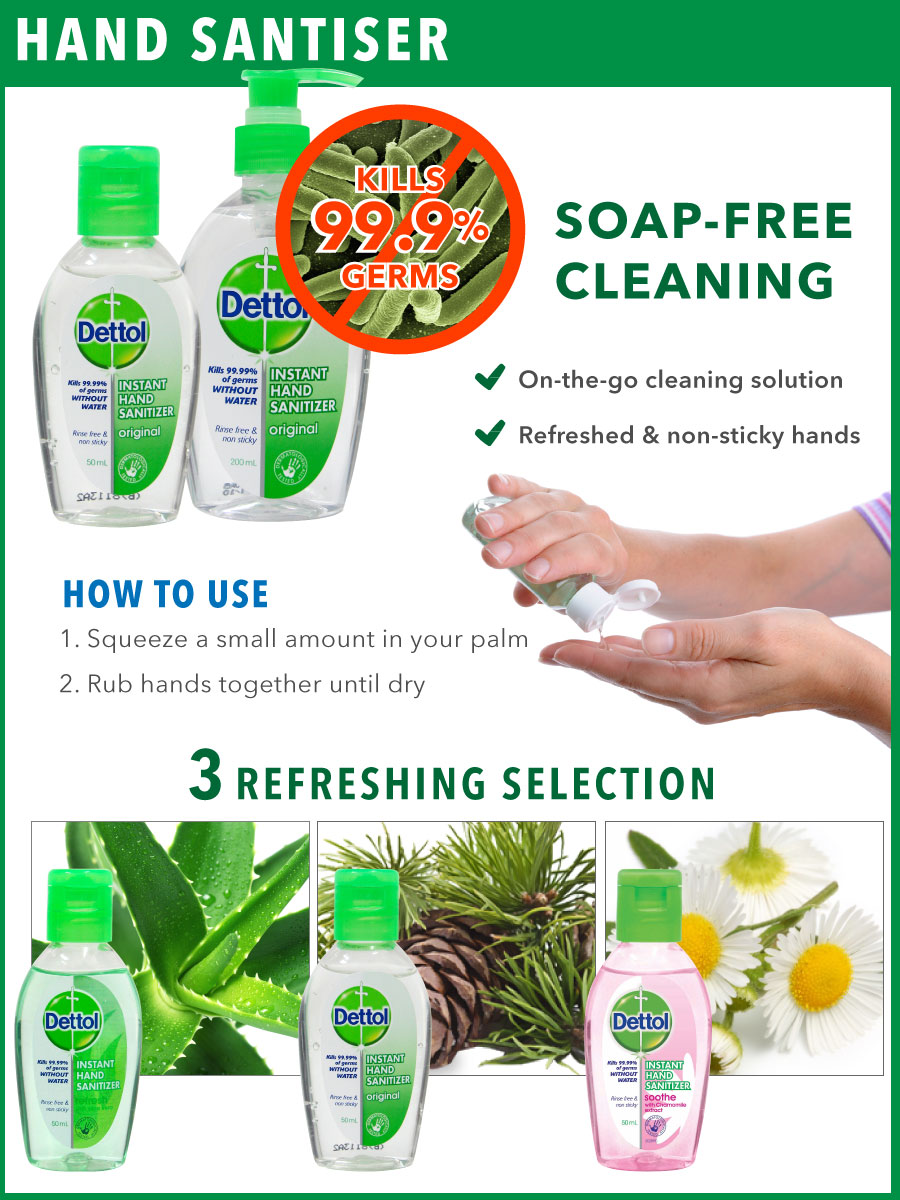 Buy Rb Dettol Hand Sanitizer With Bag Tag Kills 9999 Of Original 50 Ml 4 Pcs Soothe 50ml Select Option
