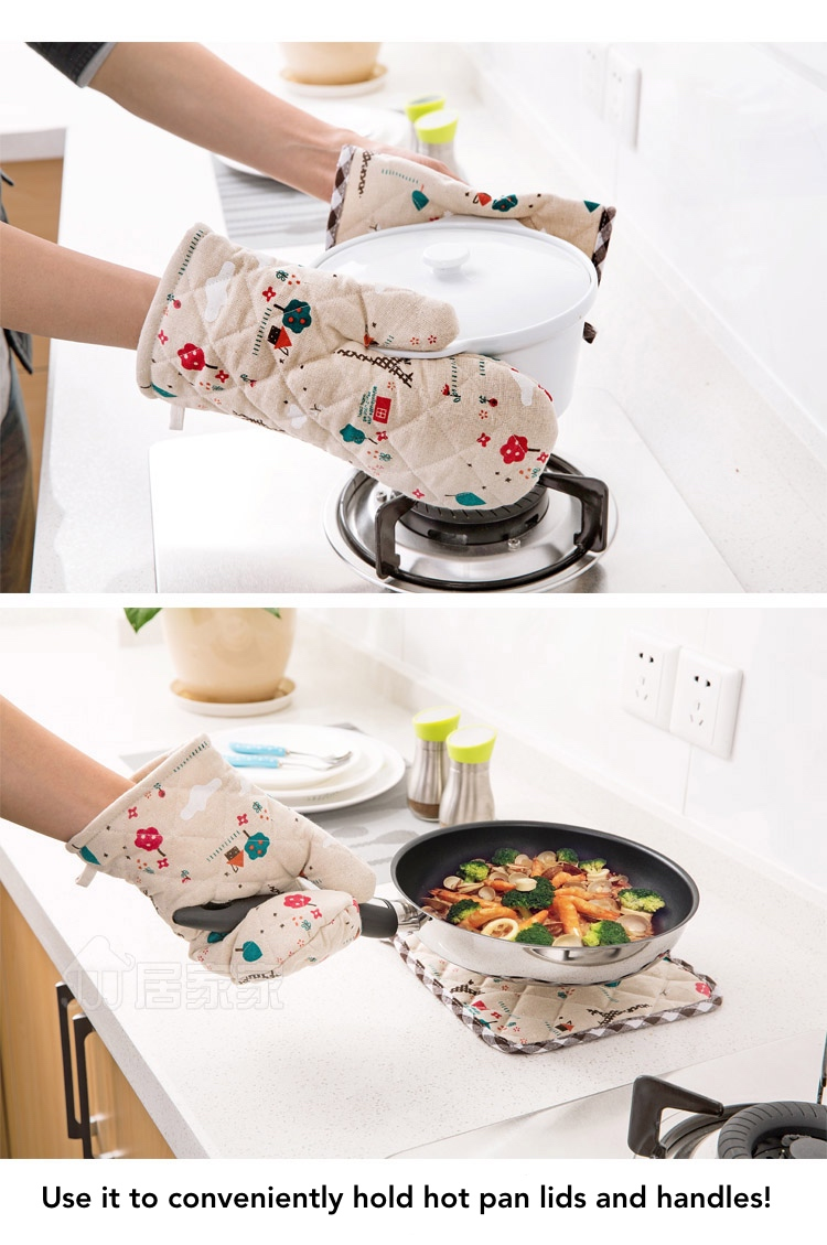 Quilted kitchen mittens set lazada singapore for Quilted kitchen set