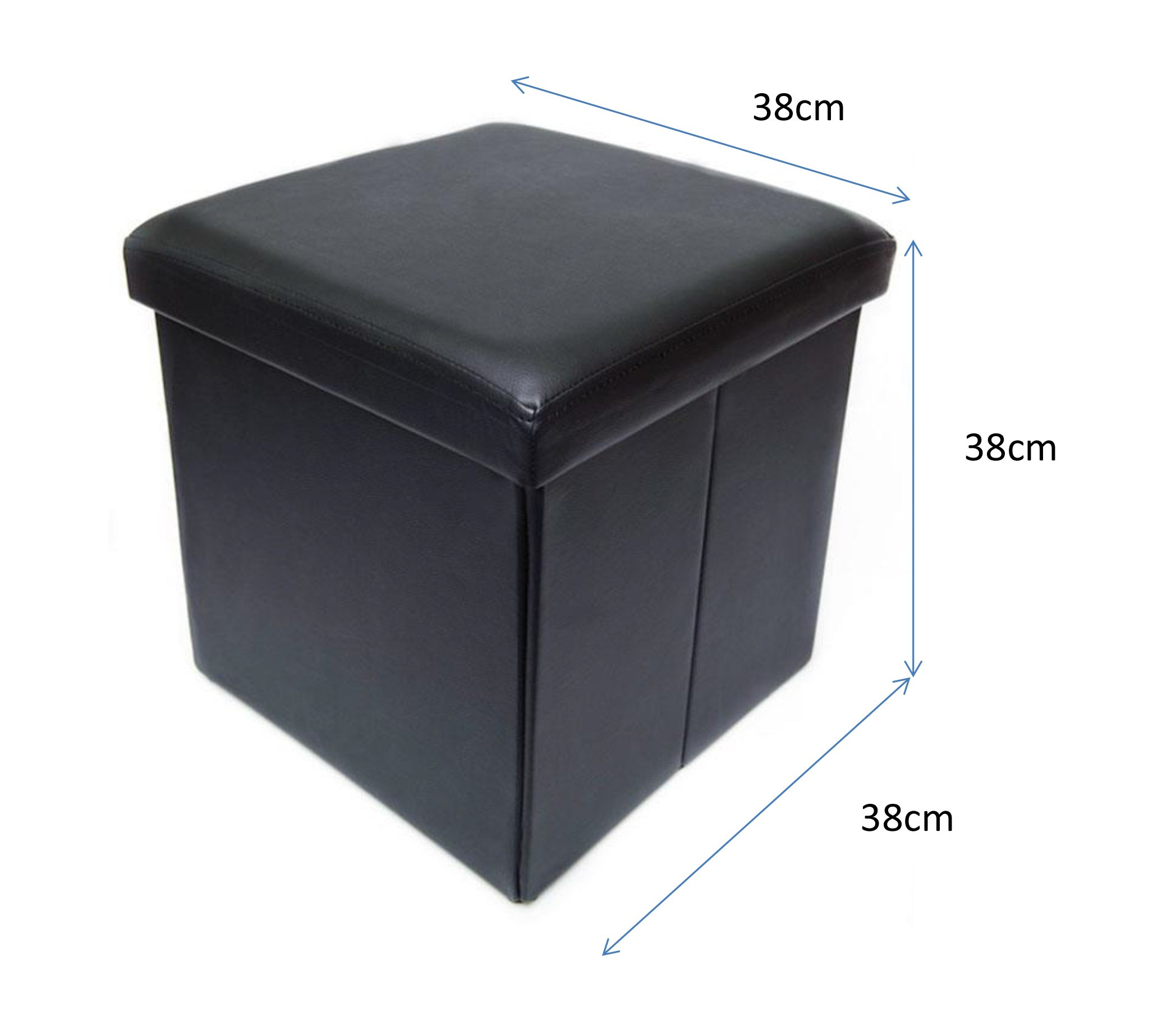 Forest 38x38x38cm faux leather collapsible storage for Storage ottoman singapore