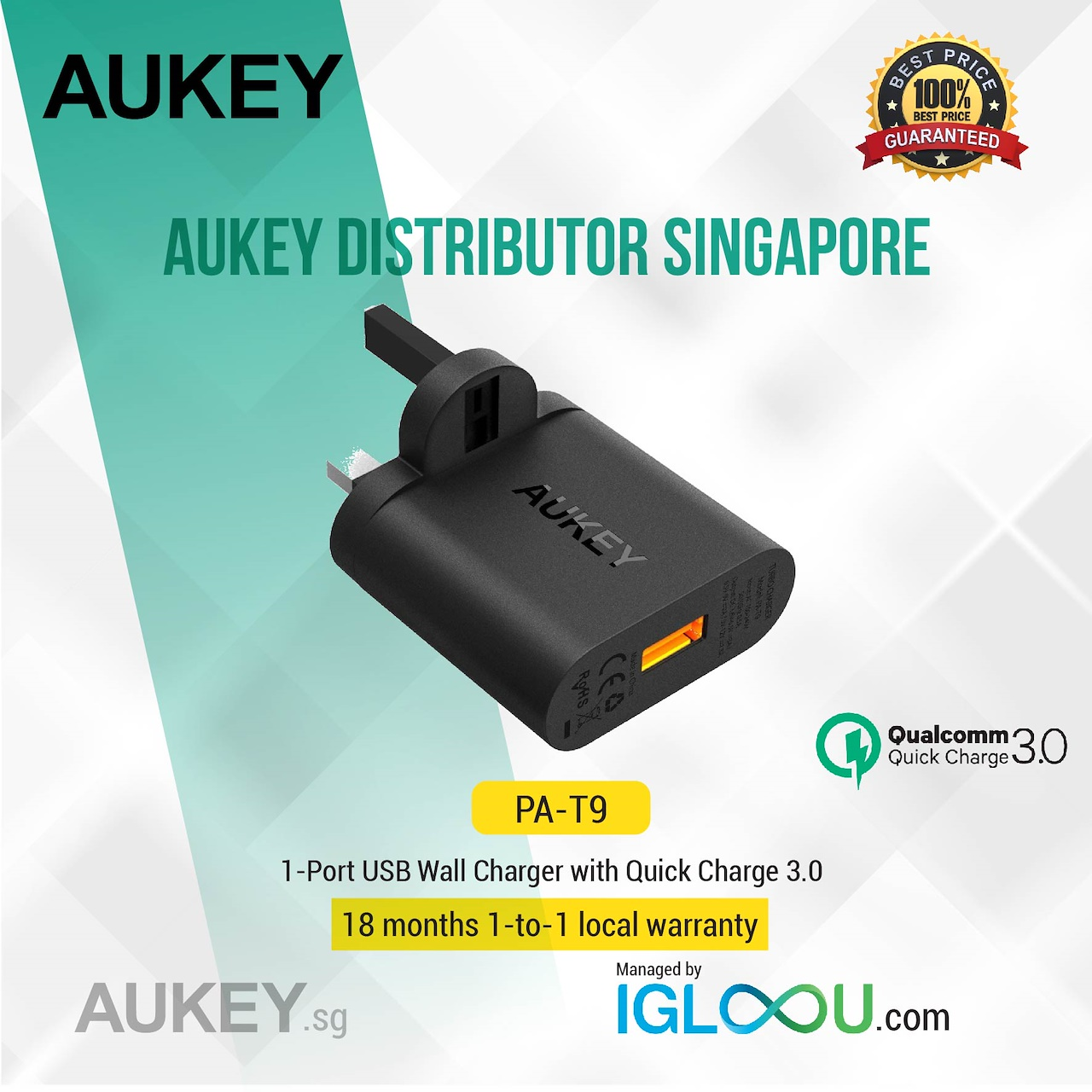 Buy Sg Best Selleraukey Wireless Charger Or Wall Chargers With Travel Home Adaptor Aukey Turbo Charge Pa T9 Quick Qualcomm 30 Original 1 X T15 5 Ports Usb Desktop 26ft Detachable Power Adapter User Manual