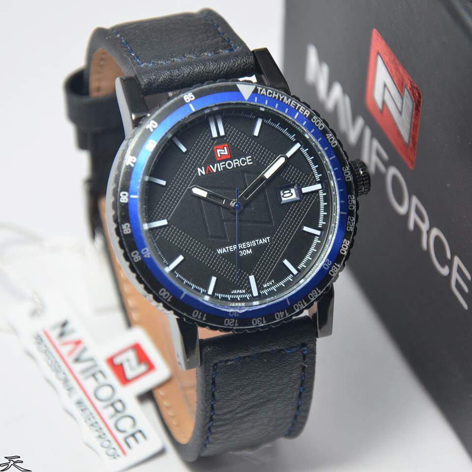 Naviforce Jam Tangan Pria Leather Strap Nf9083nb Price List Of Al 756tyu72 Tali Kulit Nf 9074