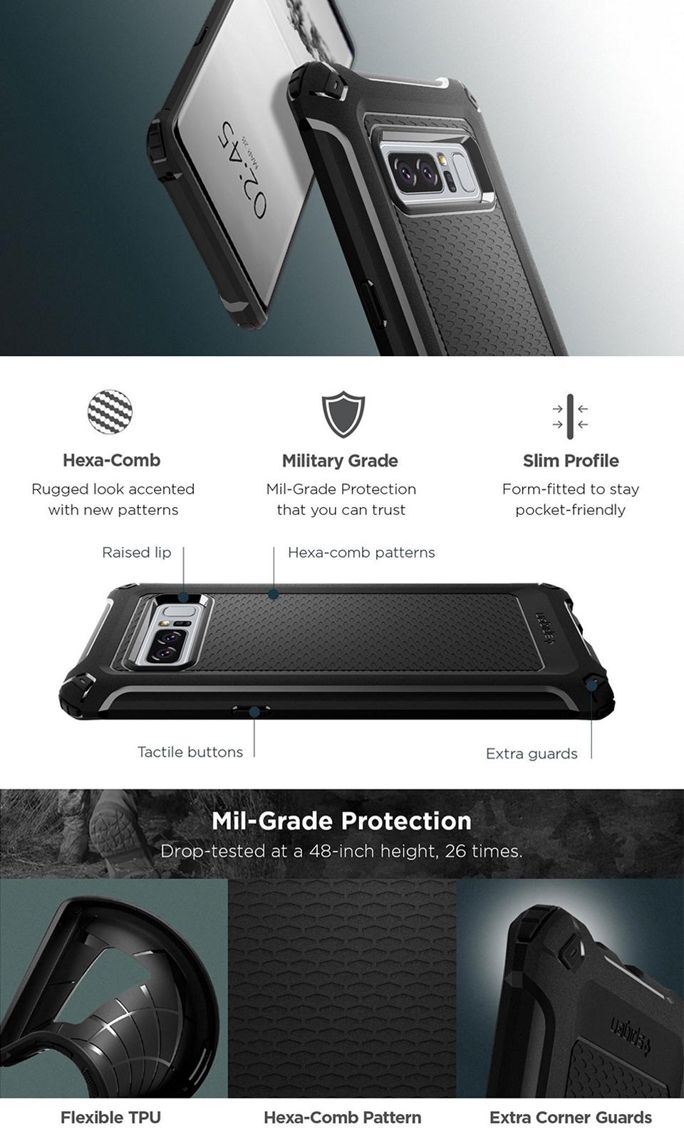 Buy Spigen Samsung Note 8 Case Casing Galaxy Screen Protector Crystal Hybrid Original Black Shell