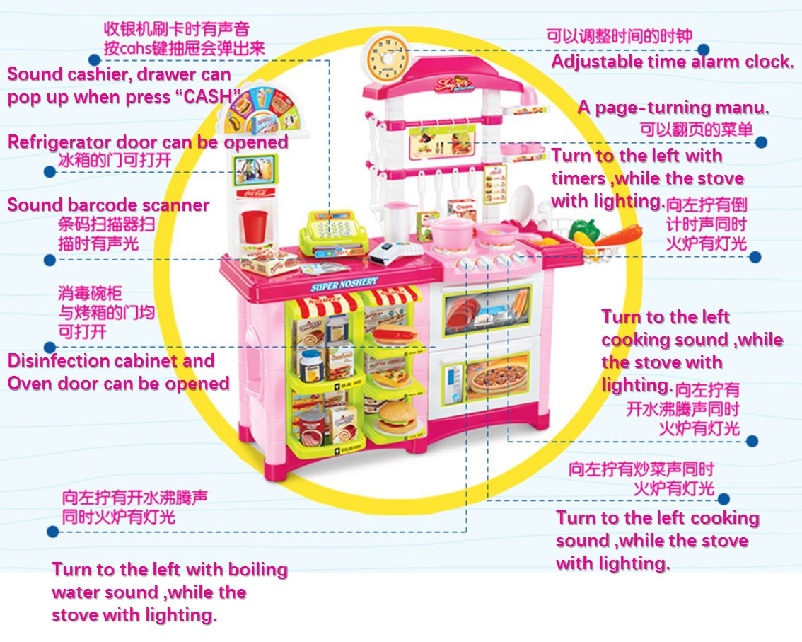 Super Kitchen - Kids Role Playing Kitchen Set with Sounds and light