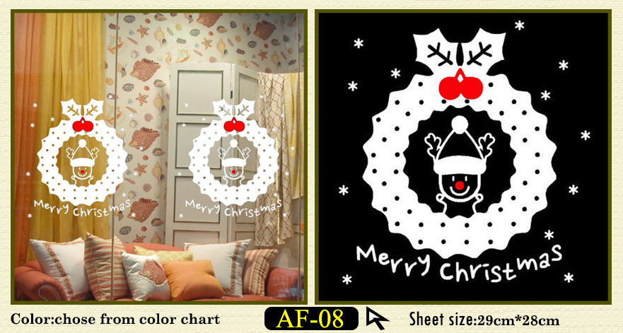 Buy white snow merry christmas vinyl removable wall for Home bargains xmas decorations