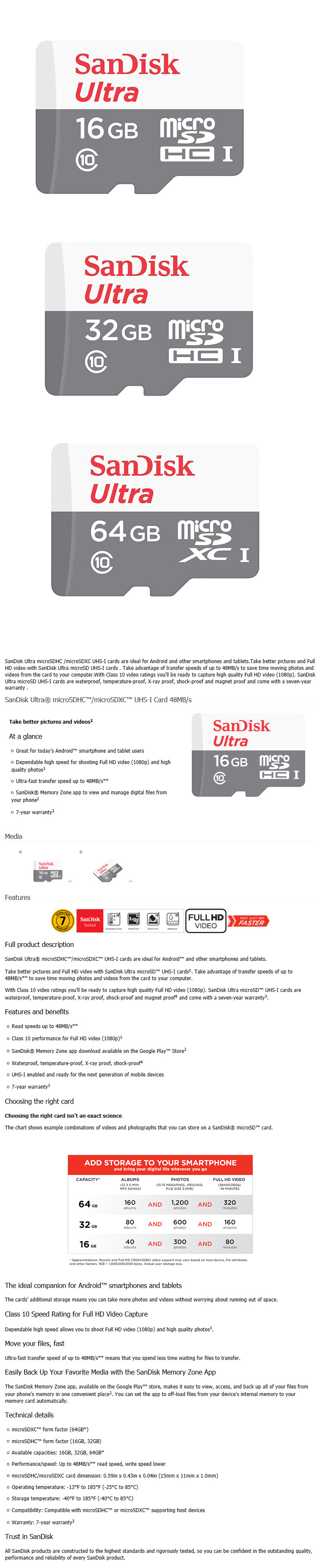 Buy Original Sandisk Ultra Microsd Micro Sd Sdhc Shdxc Class 10 16gb Card 48mbps Highlights