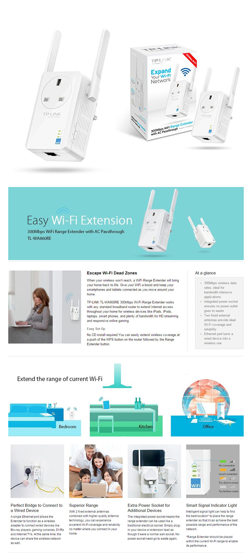 Buy TP-Link TL-WA850RE 300Mbps Universal WiFi Range Extender Deals ...