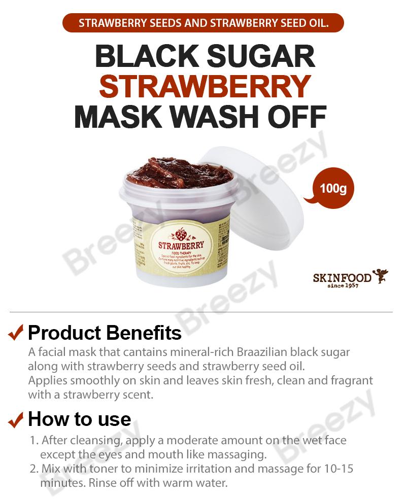 Every Need Want Day Skin Food Black Sugar Honey Mask Wash Off 100gr Breezy Strawberry 100g Skinfood