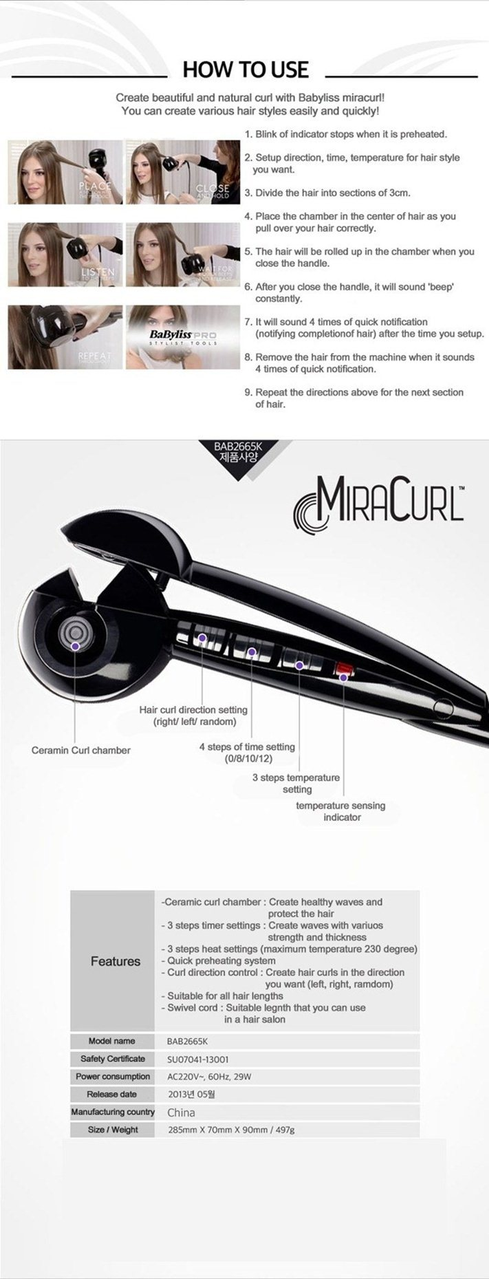 Hair Curl Pro Curling Babyliss Miracurl Curler Iron