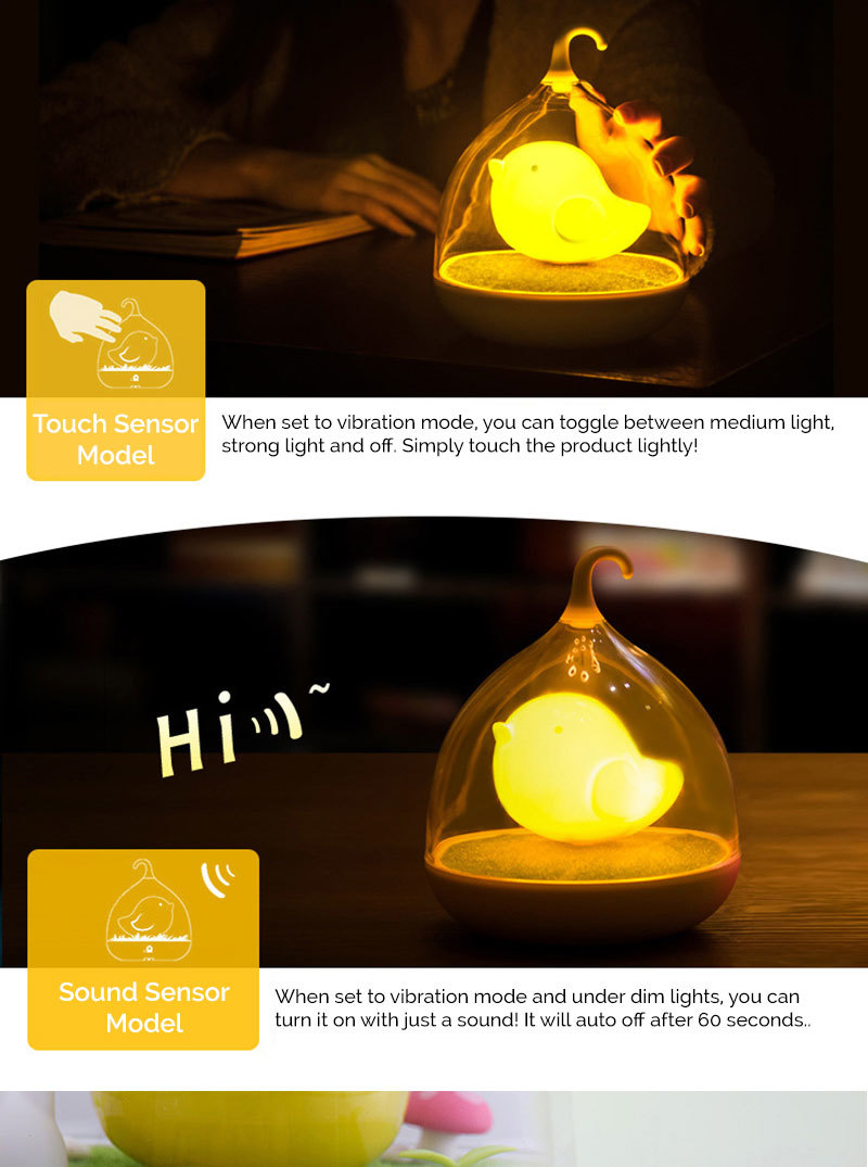 Every Need Want Day Onefire Clover Night Lamp Creative Led Cute Birdcage Bird Touch Sensor Activated 4 Colors Available Sparrow Fairy Great As Christmas Gift Present Xmas He3010