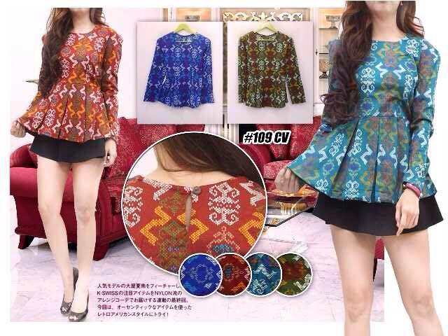 Buy blouse corak batik modern  peplum blouse  atasan  woman top