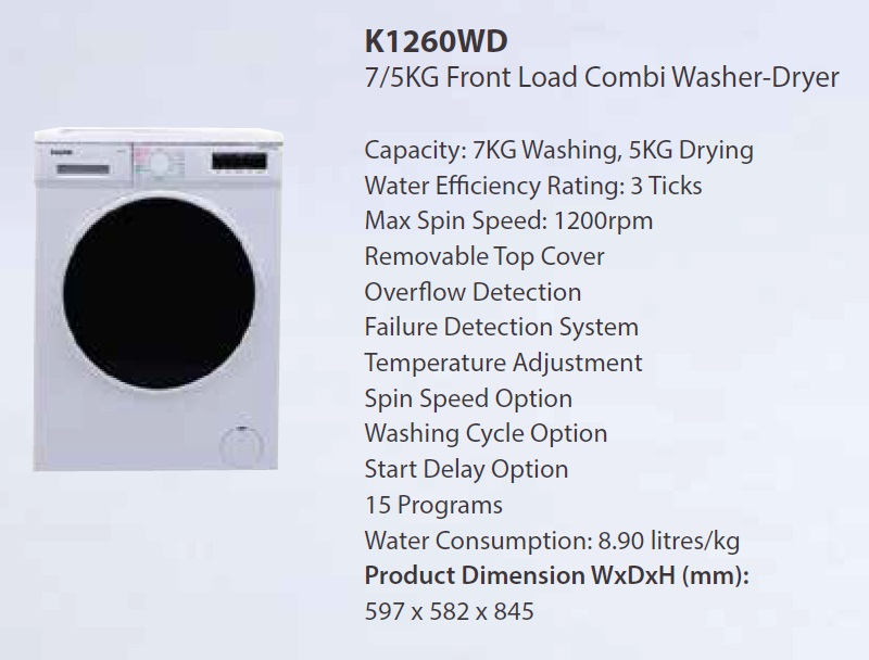 Kuche Front Load 7kg Washer 5kg Dryer Combo K1260wd Dryers