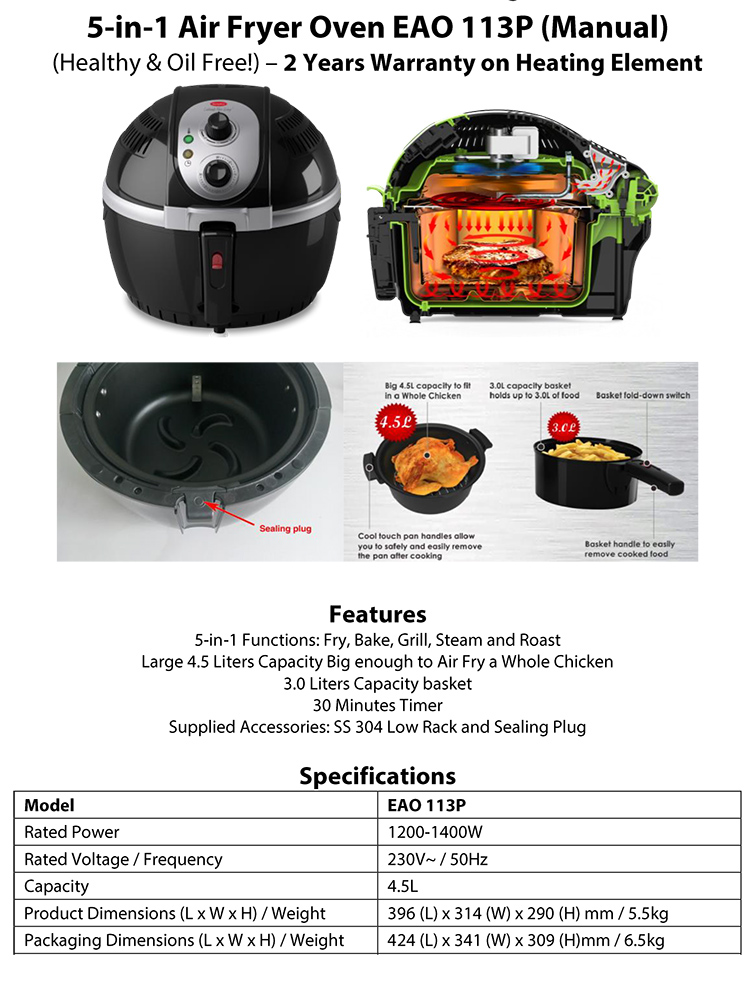 buy europace 4 5l 5 in 1 air fryer oven deals for only s. Black Bedroom Furniture Sets. Home Design Ideas