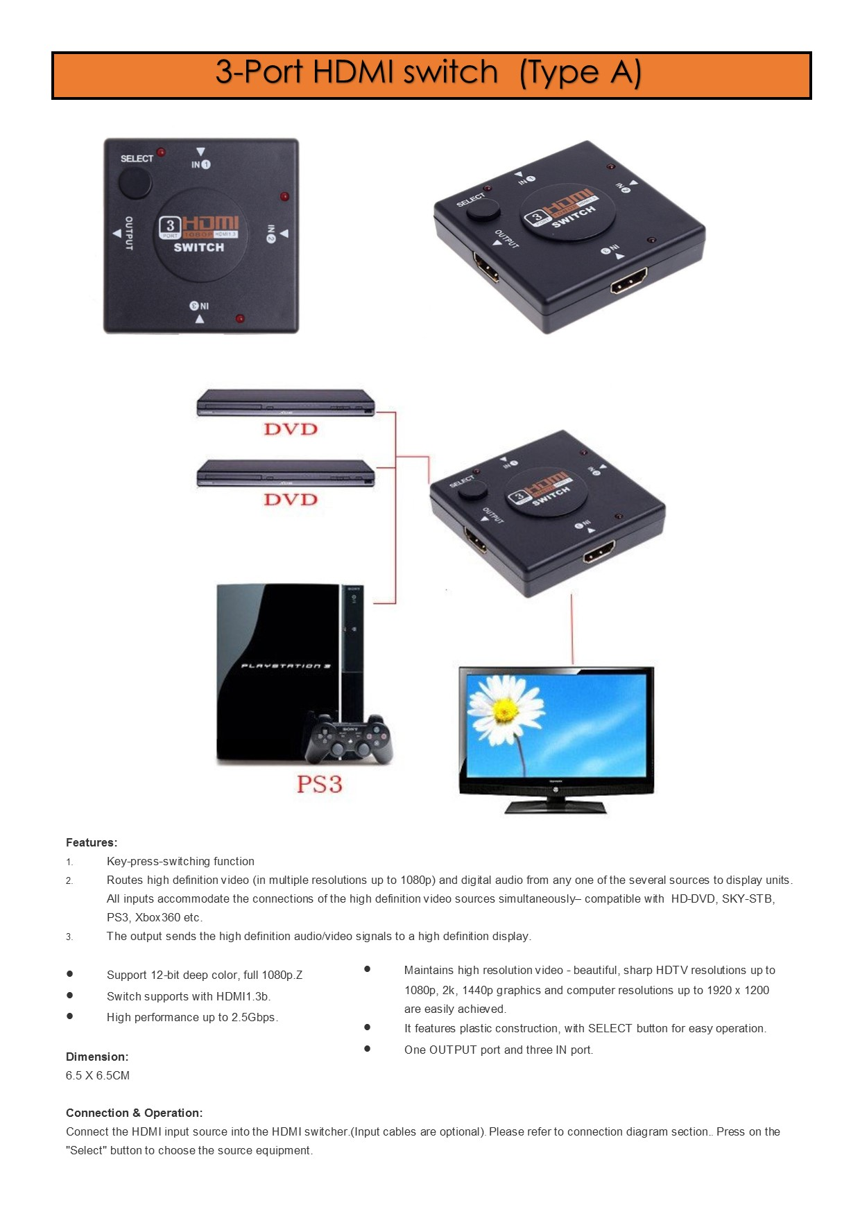 Every Need Want Day Block Diagram Hdtv 3 Or 5 Port Hdmi Switch Splitter Adapter With Remote Cable Box For Hd Dvd Ps4 Xbox One