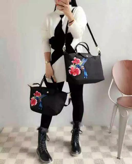 c63494231e77 Buy Paris LChmp Le Pliage Neo Embroidered Nylon Tote Sling Handbag ...