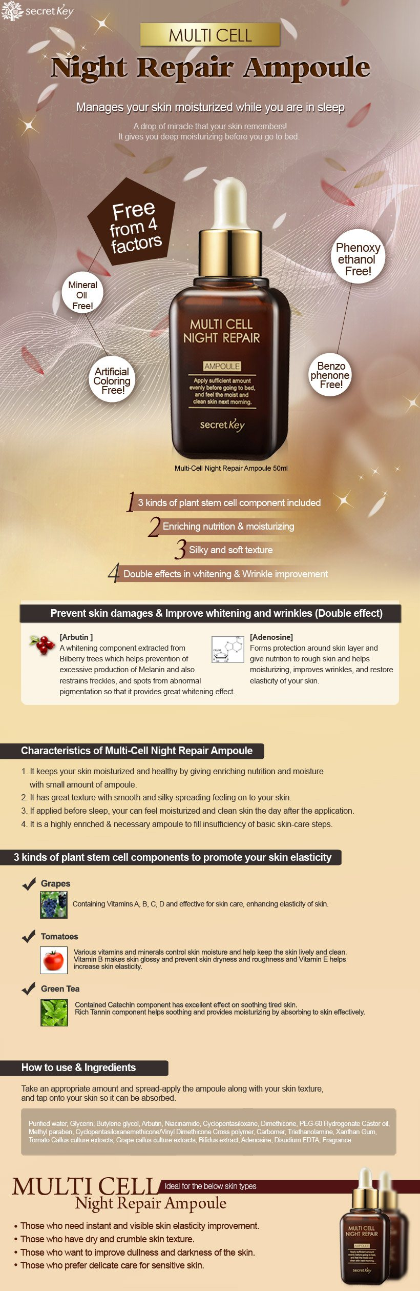 Buy Secret Key Hq Direct Operation1 Get 1 Freemulti Cell Night Stemcell Biogold Highlights