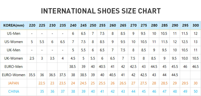 Korean Shoe Size  In Us