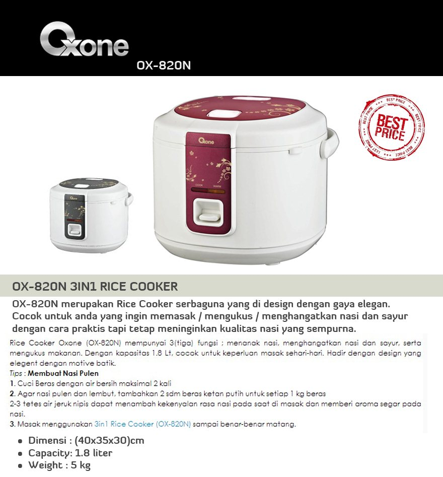Ox 816 817n 820nrice Cooker Oxone Super Great Price 921 Kitchen Scissor Department Store Rp 390000